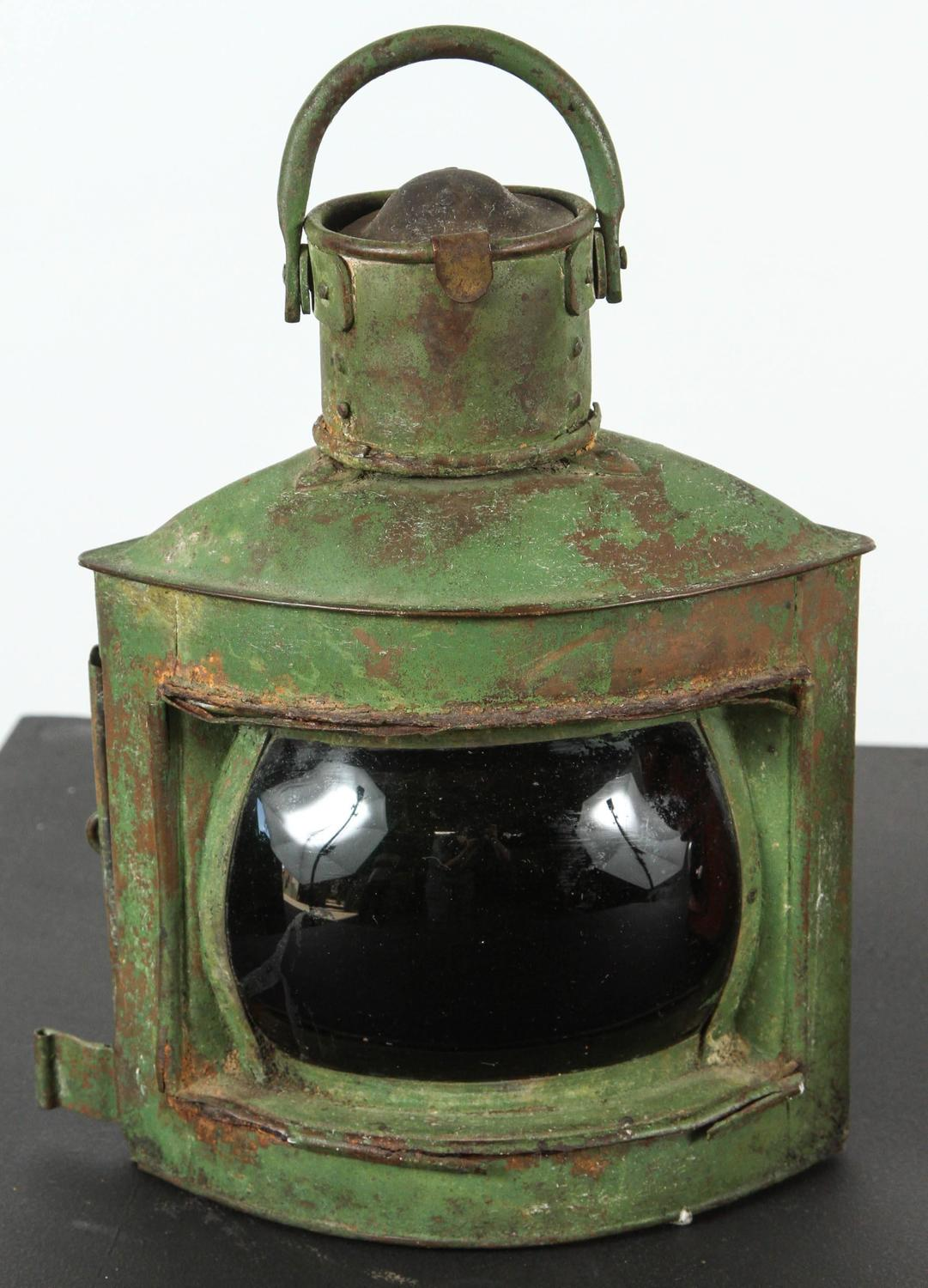 Pair Of Antique Port And Starboard Brass Ship Lanterns For