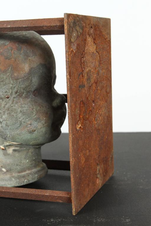 Patinated Vintage Bronx Toy Factory Copper and Iron Doll Mold Head For Sale