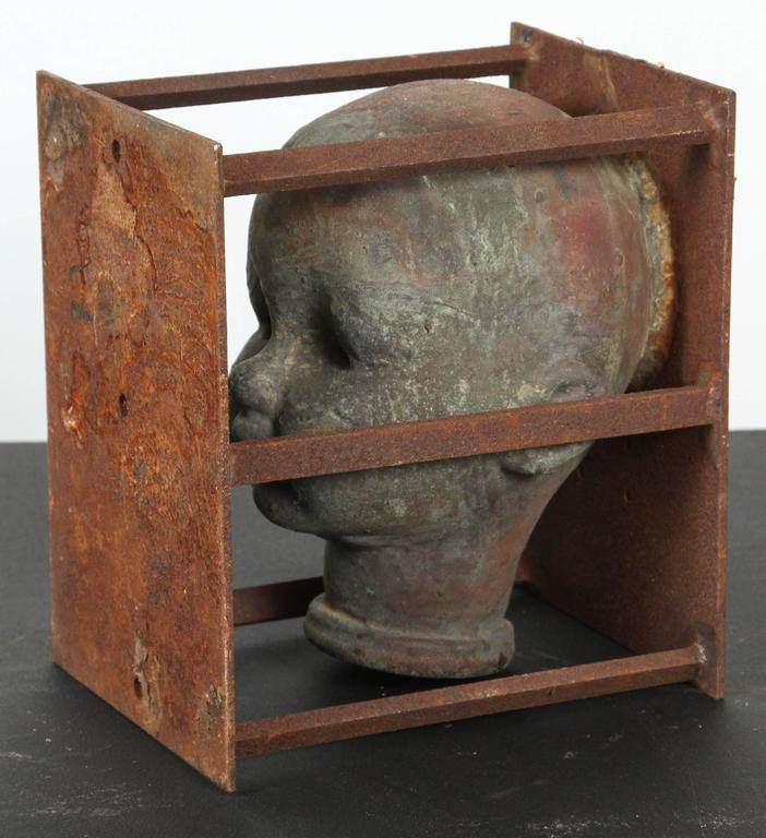 Vintage Bronx Toy Factory Copper and Iron Doll Mold Head In Good Condition For Sale In Santa Monica, CA
