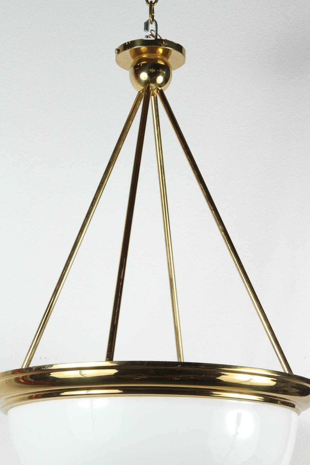 Impressive Large Brass And Glass Dome Chandelier At 1stdibs