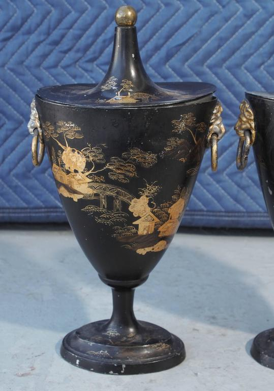 Regency Pair of Early 19th Century Tole Piente Chestnut Urns with Chinoiserie Decoration For Sale