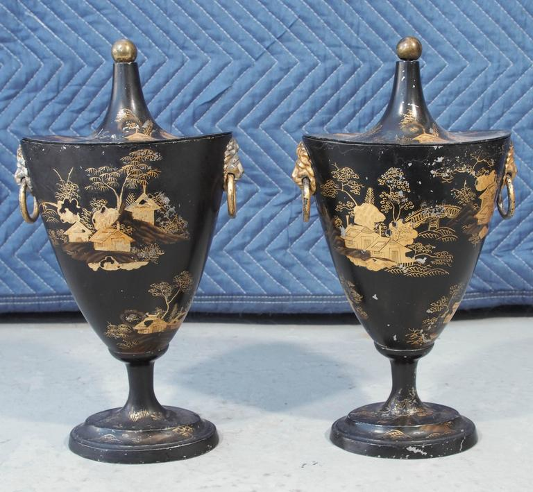 Pair of Early 19th Century Tole Piente Chestnut Urns with Chinoiserie Decoration For Sale 2