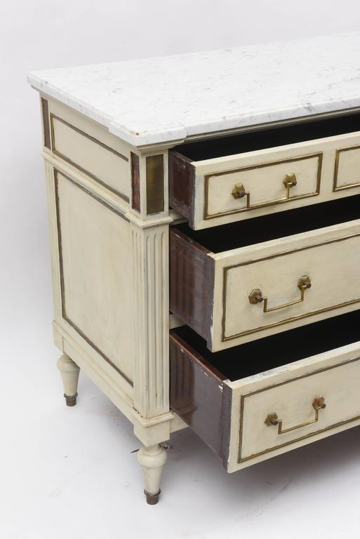 Vintage louis xvi style three drawer french chest or commode with marble top - Commode style colonial ...
