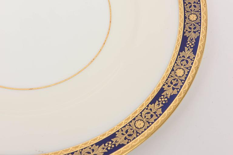 12 Cobalt Blue and Raised Gilt Dinner Plates, Minton, England for Tiffany In Good Condition For Sale In West Palm Beach, FL