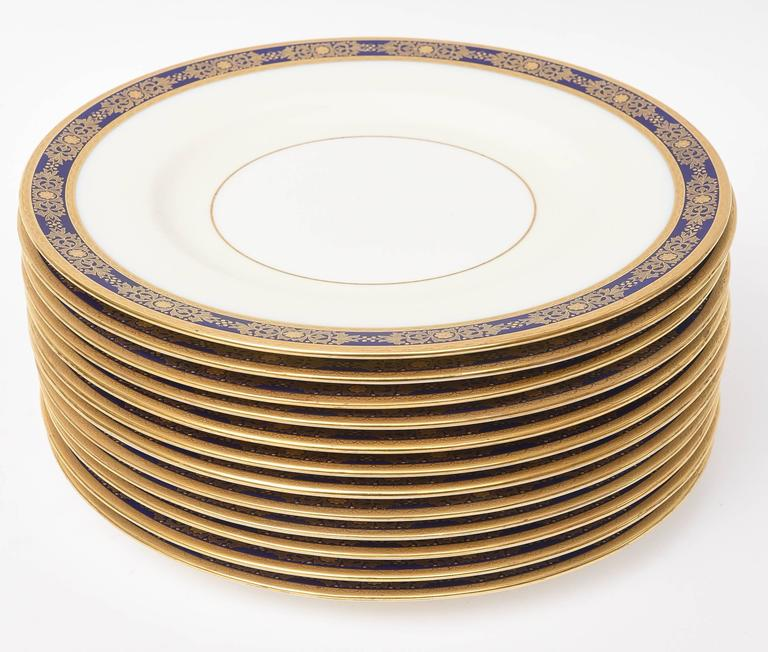 Gold 12 Cobalt Blue and Raised Gilt Dinner Plates, Minton, England for Tiffany For Sale