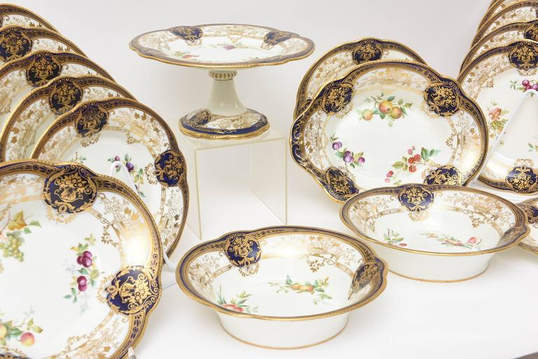 Hand-Crafted Antique English Cobalt Blue and Hand-Painted Dessert Service w Compotes 18 Piece For Sale