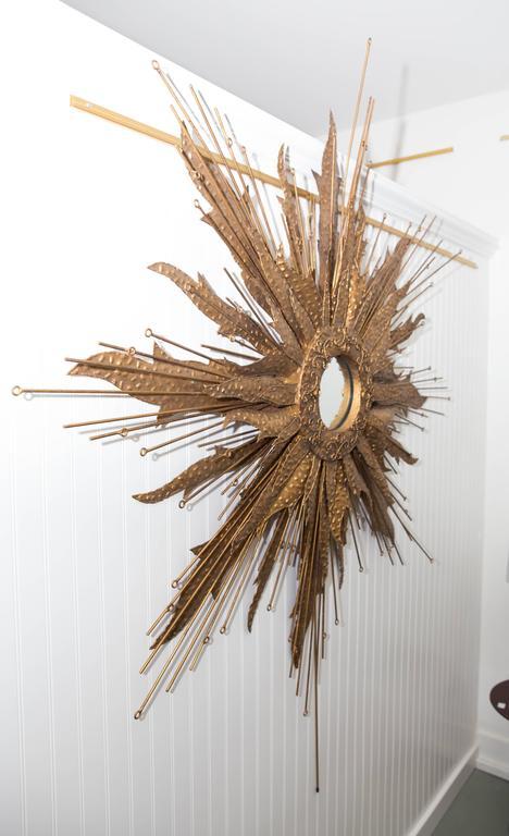American Mid-Century Brutalist Style Monumental Starburst Mirror For Sale