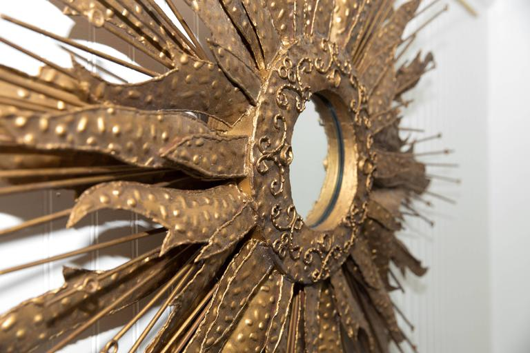 Mid-Century Brutalist Style Monumental Starburst Mirror In Good Condition For Sale In Southampton, NY