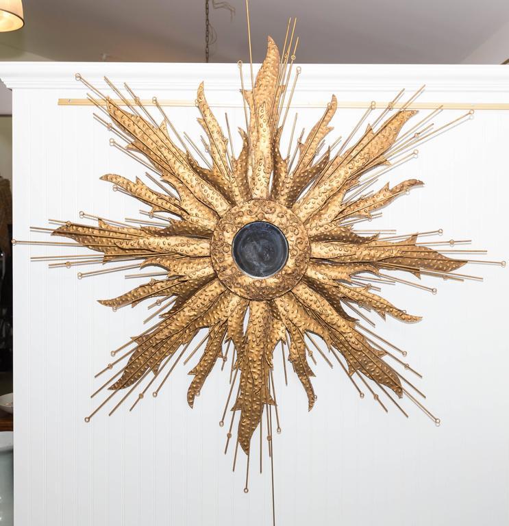 Mid-Century Brutalist Style Monumental Starburst Mirror For Sale 3