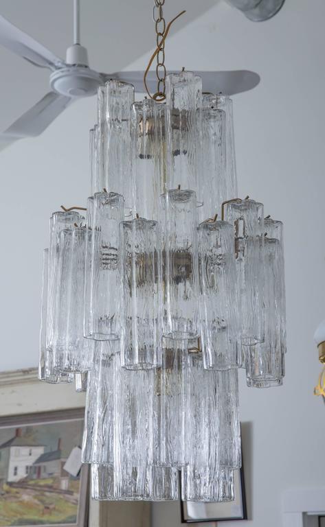 Mid-Century Modern Modern Murano Glass Cylinder Three-Tier Chandelier For Sale