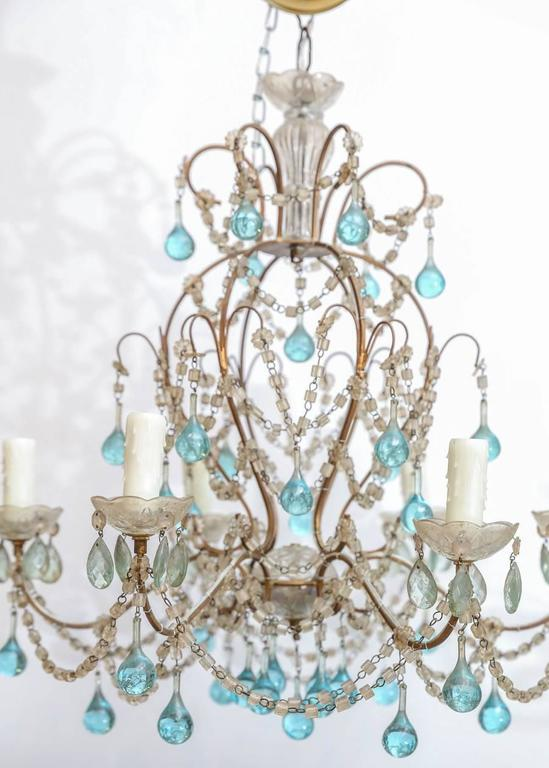 Petite italian chandelier with accent blue murano glass drops and this precious petite italian crystal chandelier features blue murano glass drops this fixture would be mozeypictures Image collections