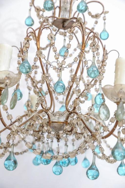 Petite Italian Chandelier With Accent Blue Murano Glass