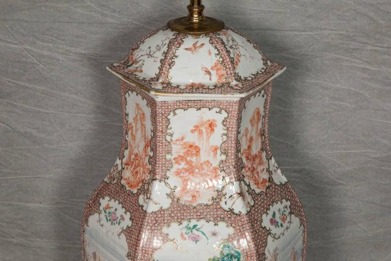 Hand-Painted 18th Century Chinese Mandarin Vase / Lamp For Sale