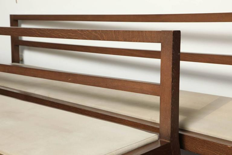 Pair of 20th Century Stained Oak Long Benches In Good Condition For Sale In New York, NY