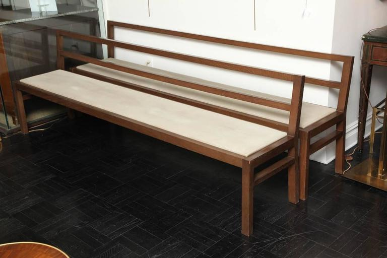 Late 20th Century Pair of 20th Century Stained Oak Long Benches For Sale