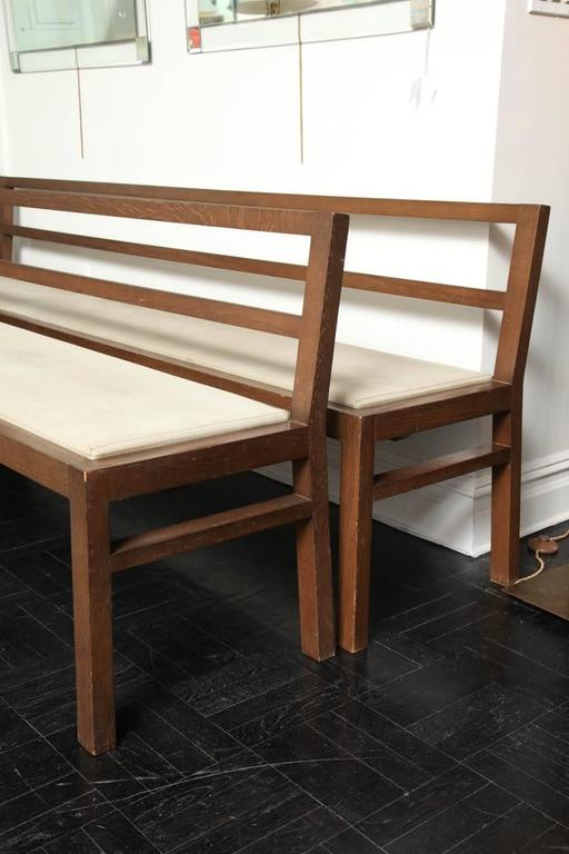 Pair of 20th Century Stained Oak Long Benches For Sale 1
