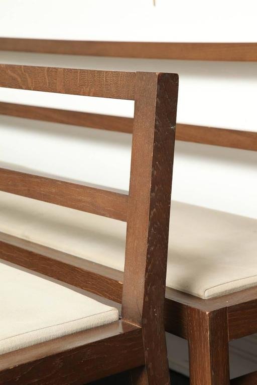 Pair of 20th Century Stained Oak Long Benches For Sale 2