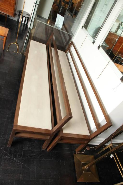 Pair of 20th Century Stained Oak Long Benches For Sale 3