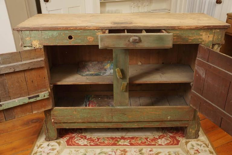 French Original Green Painted Store Counter For Sale