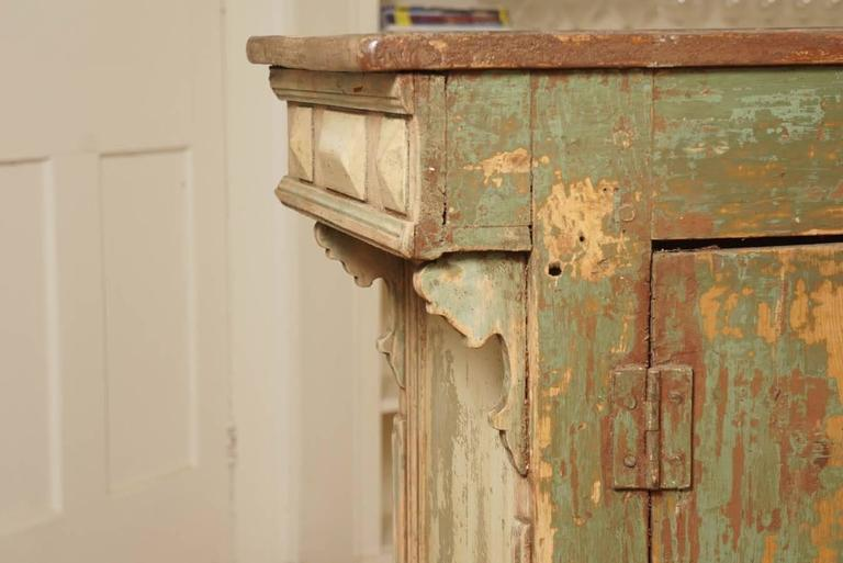 Late 19th Century Original Green Painted Store Counter For Sale