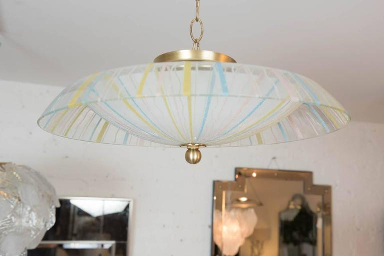 A playful and funky molded glass flush mount from Italy. This light is great for a bedroom or hall way. Rewired with new wiring and canopy. Three lights.