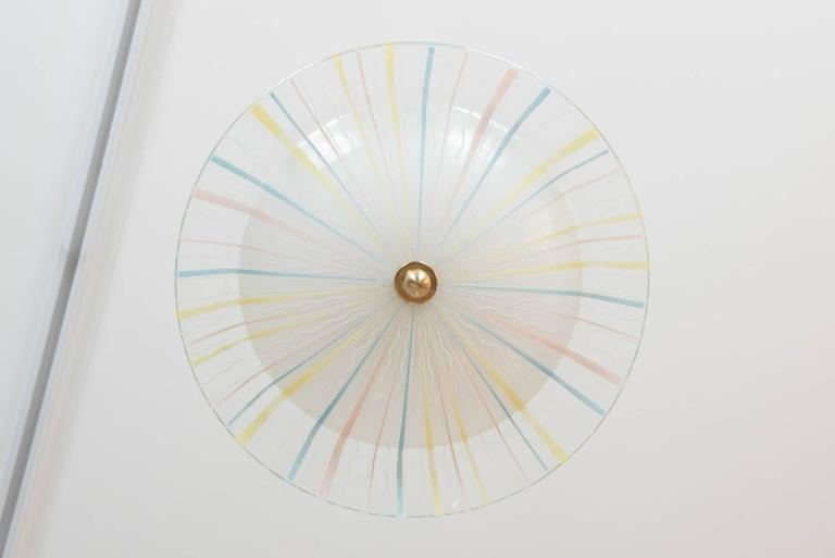 Modernist Italian Glass Flush Mount, circa 1958 In Excellent Condition For Sale In Toronto, ON