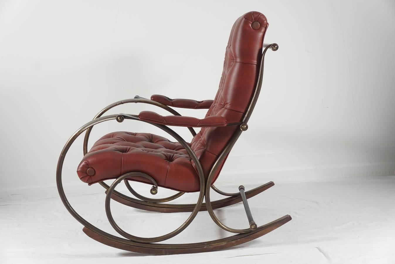Mid Century Lee Woodard Rocker Rocking Chair At 1stdibs. Full resolution  pic, nominally Width 1347 Height 900 pixels, pic with #6A3A34.