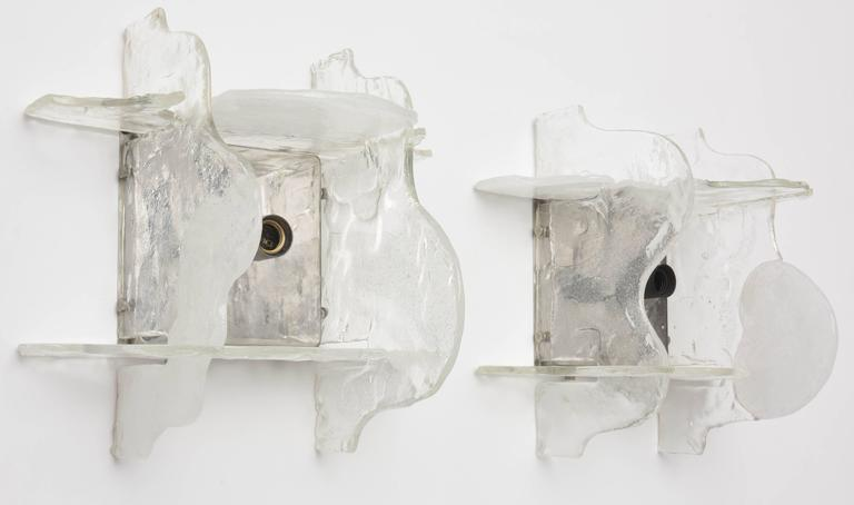 20th Century Pair of Murano Glass Wall Sconces by Mazzega, Italy, 1960s For Sale