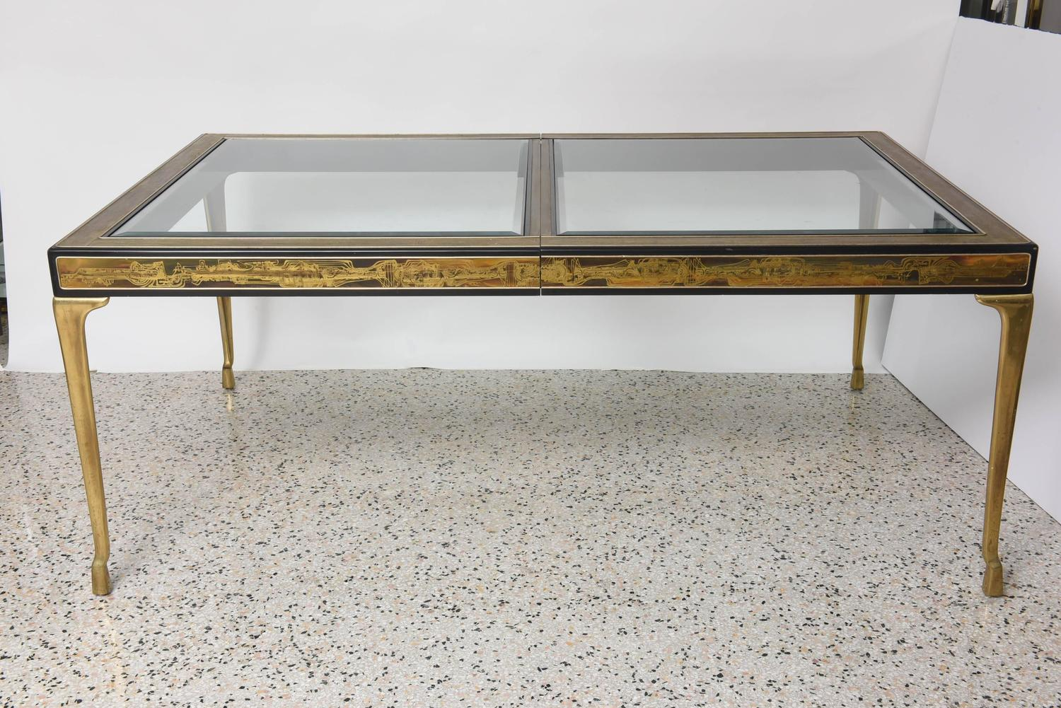 Rectangular Dining Table Brass And Glass By Bernhard Rohne