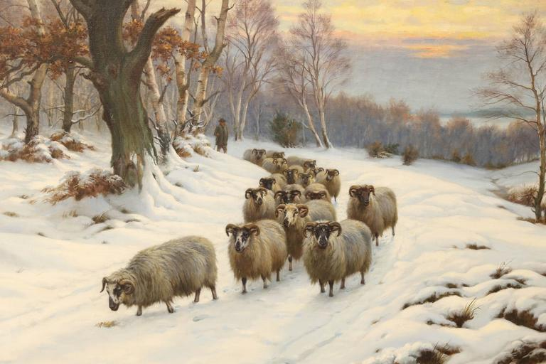 Wright Barker (1864-1941) was a British painter and a member of the Royal British Academy (R.B.A.). He is known as John Wright Barker. He was a painter of genre, rural and sporting scenes, especially dogs, hunting, horses, highland cattle and