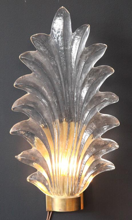 Pair of Large Murano Glass and Brass Leaf Sconces in the Style of Barovier Toso 5