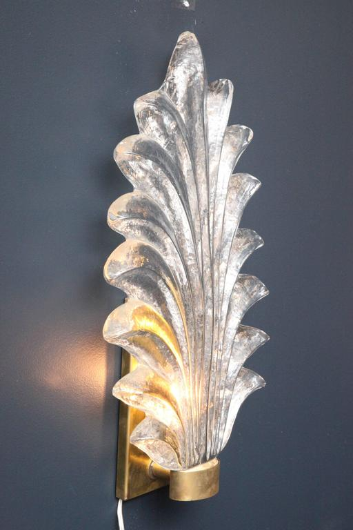 Pair of Large Murano Glass and Brass Leaf Sconces in the Style of Barovier Toso 8