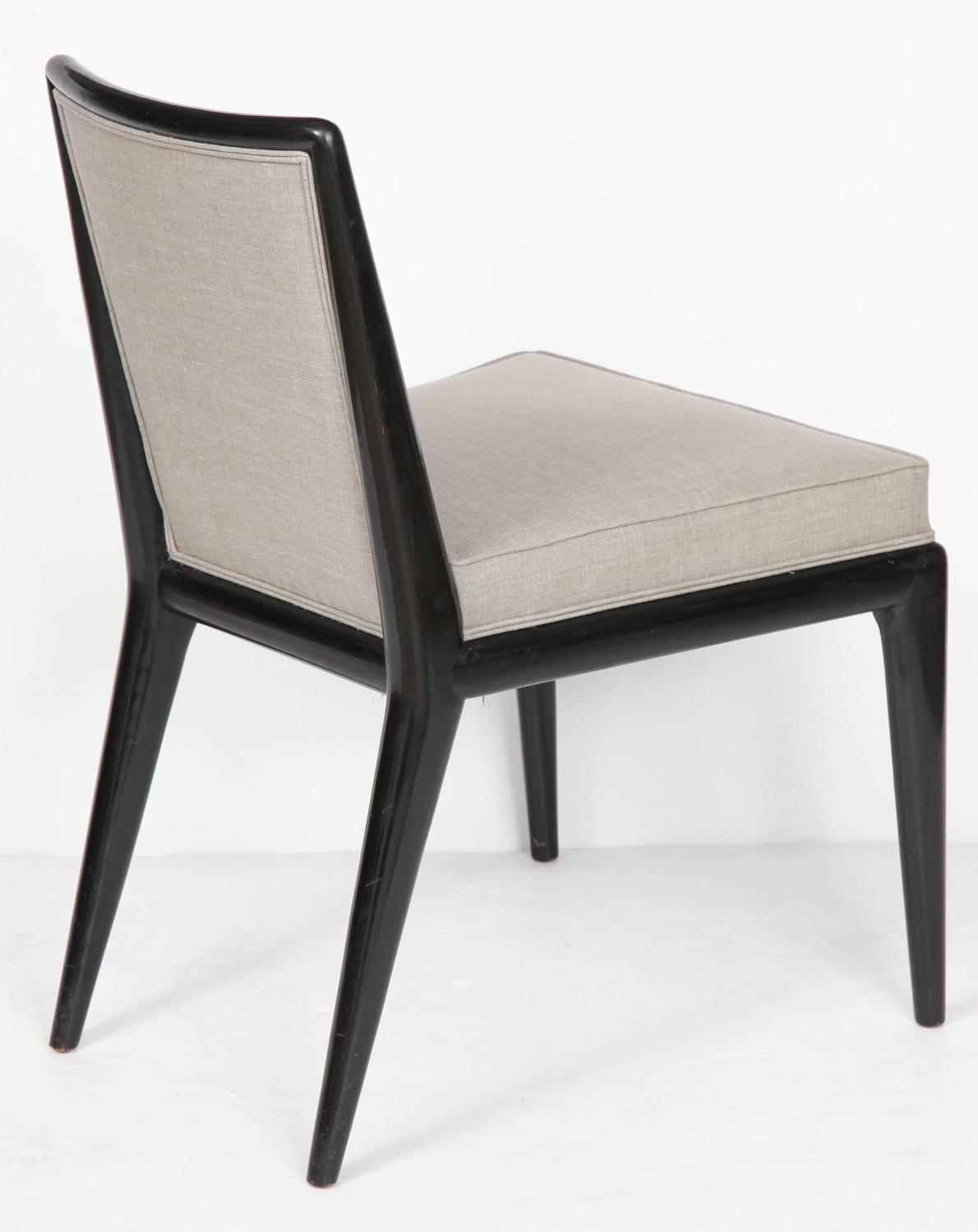 Six Black Lacquer Dining Chairs By Robsjohn Gibbings At