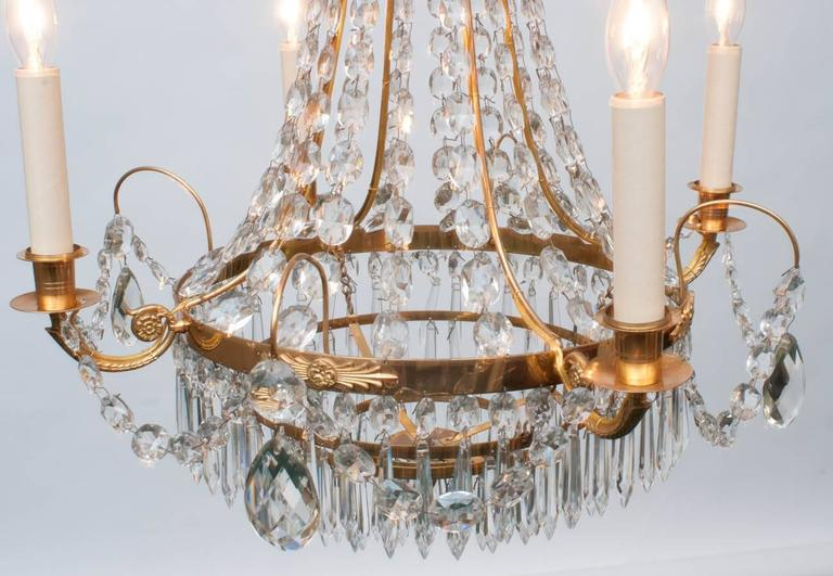 Neoclassic Style Gilt Brass and Crystal Chandelier, Sweden, circa 1935 In Excellent Condition For Sale In Alexandria, VA