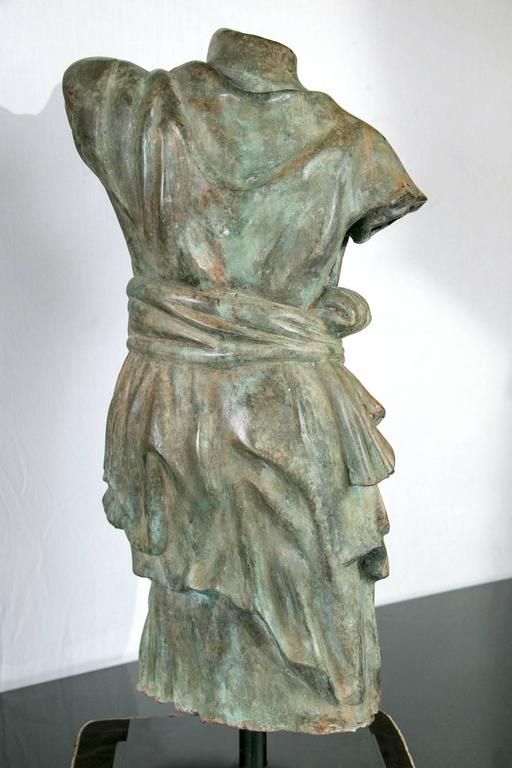 Cast Draped Female Torso in Bronze, after the Antique For Sale