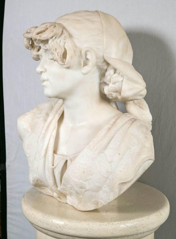 Hand-Carved Carved White Marble Bust of a Young Lady For Sale