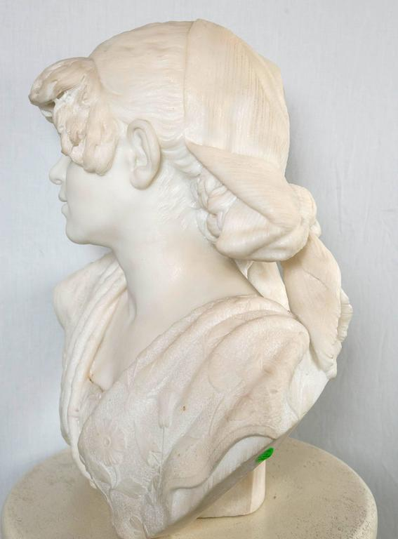 Carved White Marble Bust of a Young Lady For Sale 1