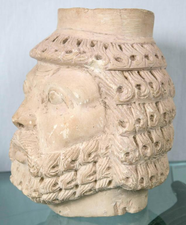 Dramatically Carved White Marble Head For Sale 2