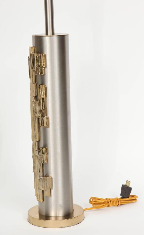 Pair of Brutalist Column Form Lamps 5