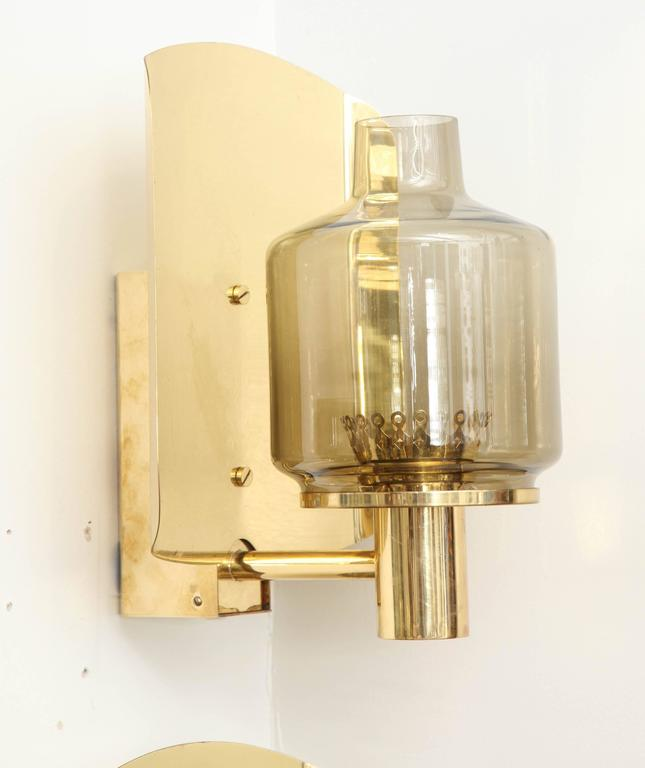 Pair of Brass and Smoked Glass Sconces by Hans-Agne Jakobsson 3