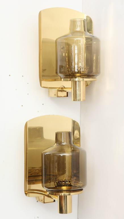 Pair of Brass and Smoked Glass Sconces by Hans-Agne Jakobsson In Excellent Condition For Sale In New York, NY