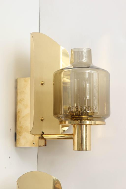 Pair of Brass and Smoked Glass Sconces by Hans-Agne Jakobsson For Sale 1