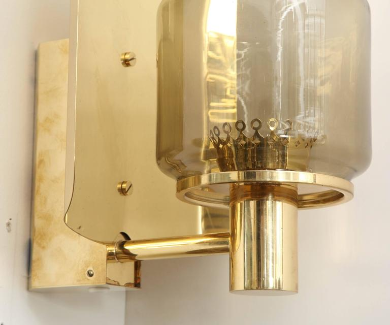 Pair of Brass and Smoked Glass Sconces by Hans-Agne Jakobsson For Sale 2