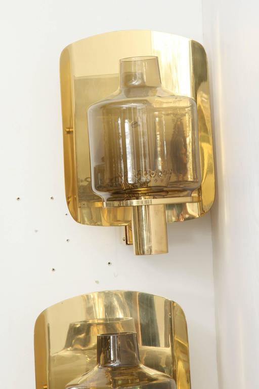 Pair of Brass and Smoked Glass Sconces by Hans-Agne Jakobsson For Sale 3