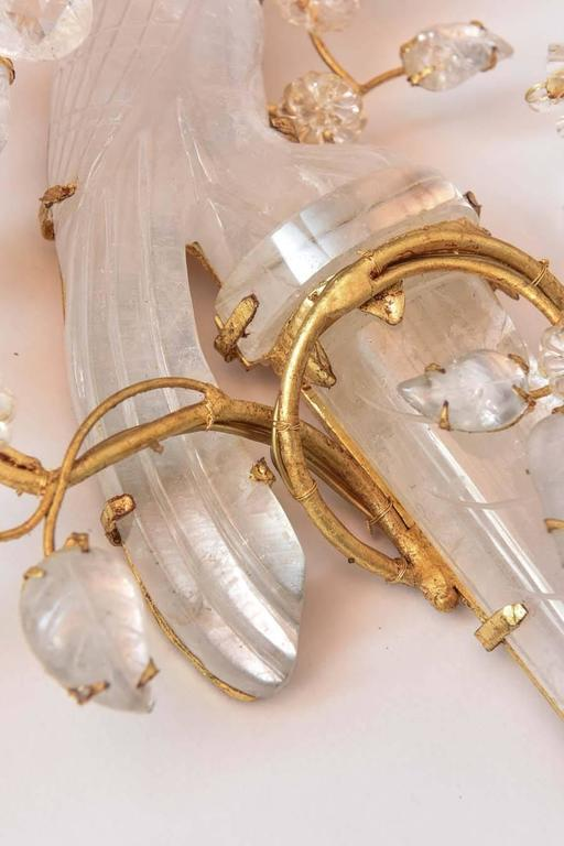 Crystal Bird Wall Sconces : Beautiful Pair of Rock Crystal Bird Sconces For Sale at 1stdibs
