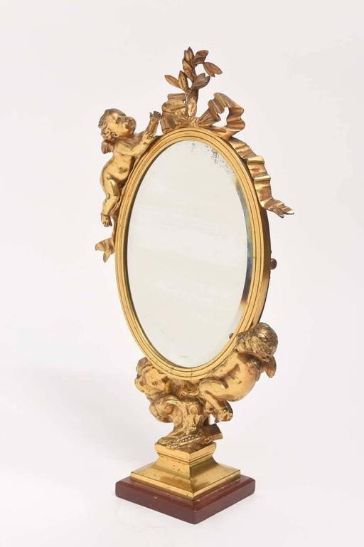 19th Century Dore Bronze Cupid Vanity Mirror In Good Condition For Sale In West Palm Beach, FL