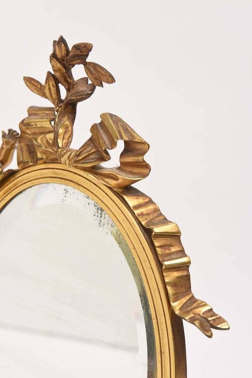19th Century Dore Bronze Cupid Vanity Mirror For Sale 1