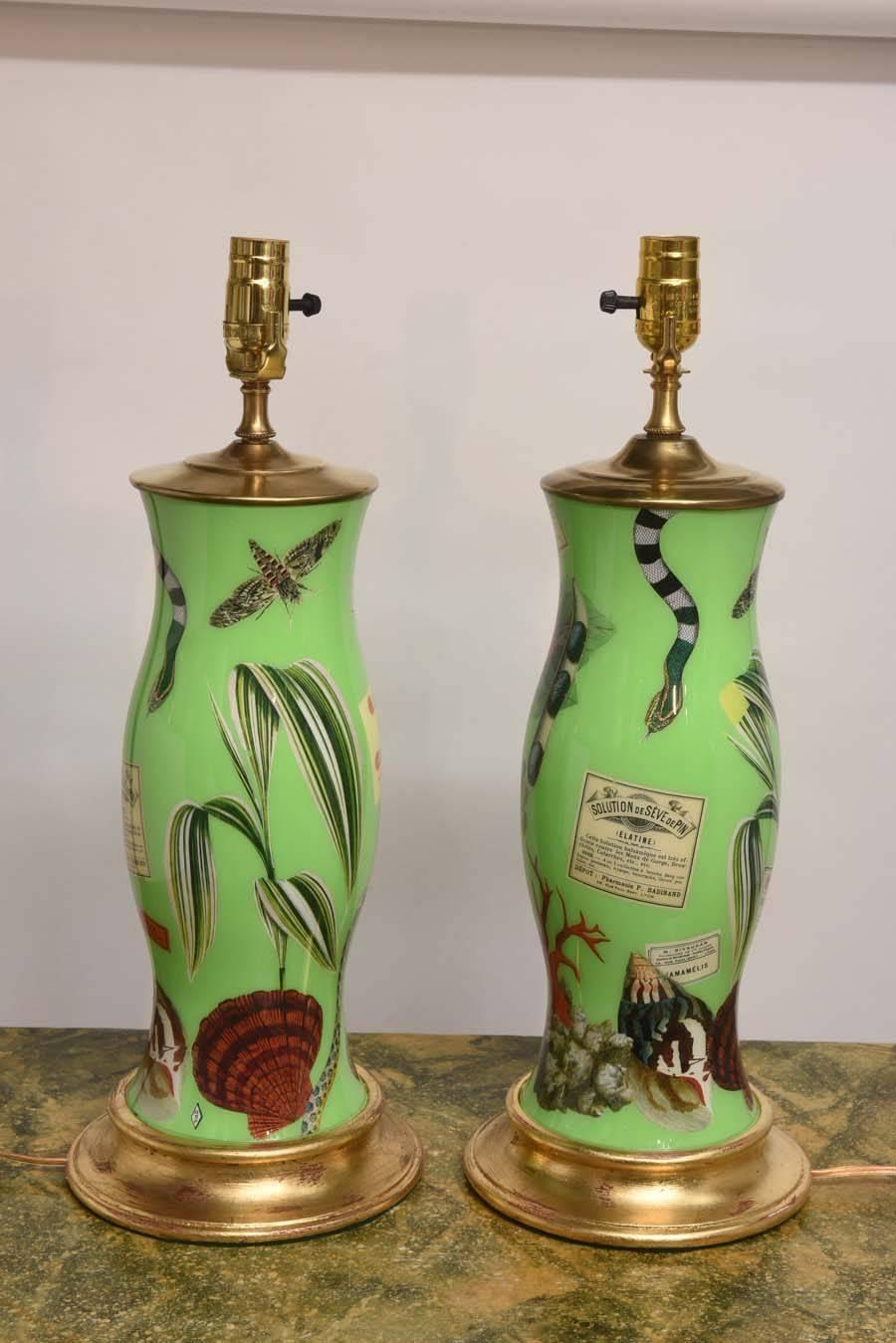 Pair Of French Decoupage Lamps For Sale At 1stdibs