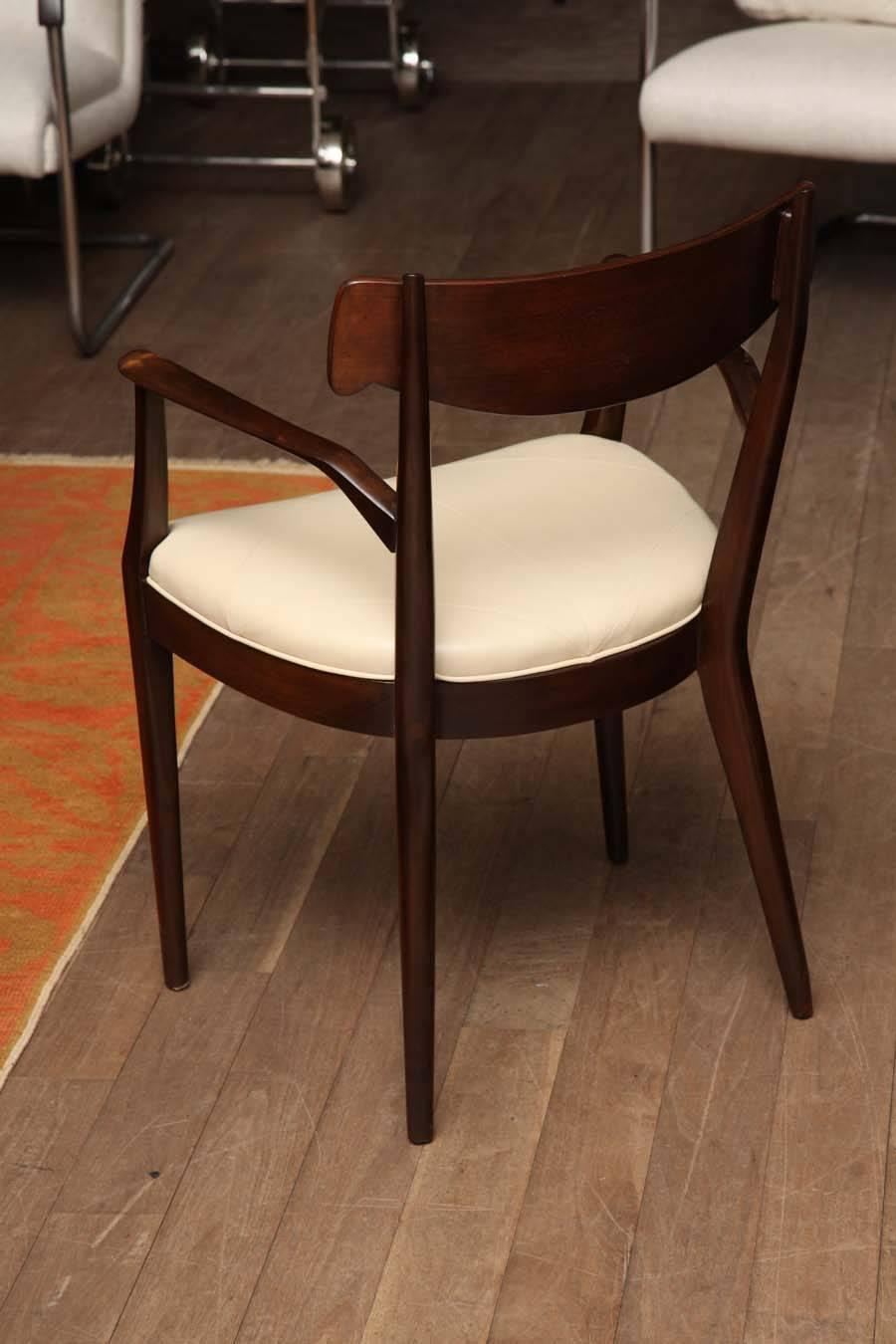 set of six walnut dining chairs by kip stewart for drexel circa 1950