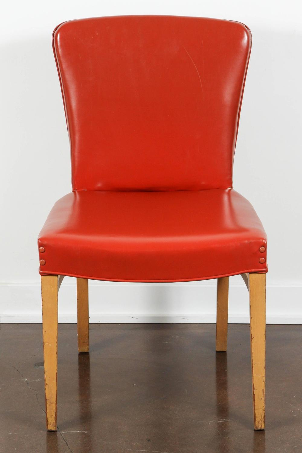 Set of six mid century modern dining chairs in red vinyl for Red modern dining chairs